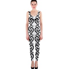 White and black elegant pattern OnePiece Catsuit