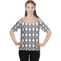 White and black elegant pattern Women s Cutout Shoulder Tee