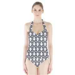 White and black elegant pattern Halter Swimsuit