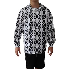 White and black elegant pattern Hooded Wind Breaker (Kids)