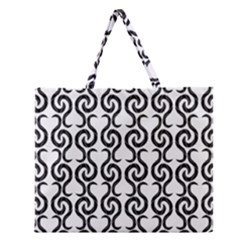 White and black elegant pattern Zipper Large Tote Bag