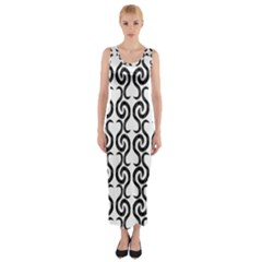 White and black elegant pattern Fitted Maxi Dress