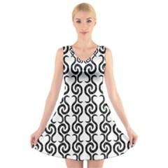 White and black elegant pattern V-Neck Sleeveless Skater Dress