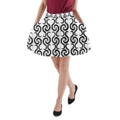White and black elegant pattern A-Line Pocket Skirt
