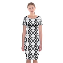 White and black elegant pattern Classic Short Sleeve Midi Dress
