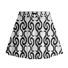 White and black elegant pattern Mini Flare Skirt