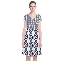 White and black elegant pattern Short Sleeve Front Wrap Dress
