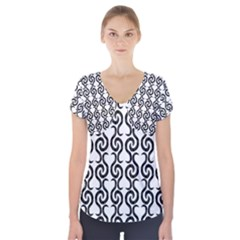 White and black elegant pattern Short Sleeve Front Detail Top
