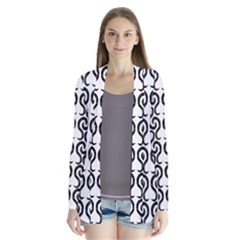 White And Black Elegant Pattern Drape Collar Cardigan