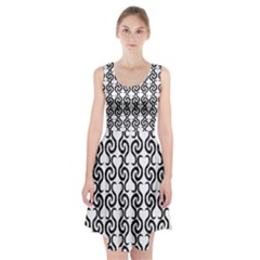 White and black elegant pattern Racerback Midi Dress