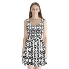 White and black elegant pattern Split Back Mini Dress
