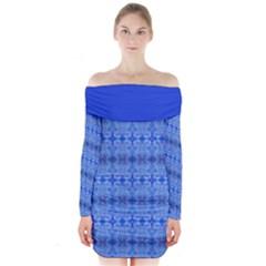 Blue Glass Long Sleeve Off Shoulder Dress