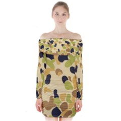 Camouflage Pattern Army Long Sleeve Off Shoulder Dress