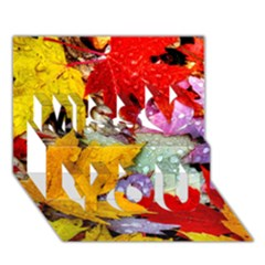 Coloorfull Leave Miss You 3d Greeting Card (7x5)