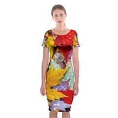 Coloorfull Leave Classic Short Sleeve Midi Dress