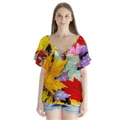 Coloorfull Leave Flutter Sleeve Top