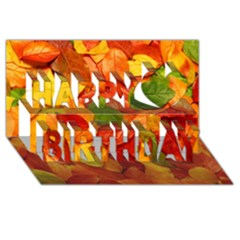 Colorful Fall Leaves Happy Birthday 3d Greeting Card (8x4)