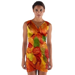 Colorful Fall Leaves Wrap Front Bodycon Dress