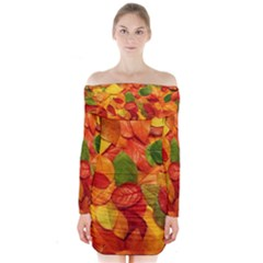 Colorful Fall Leaves Long Sleeve Off Shoulder Dress