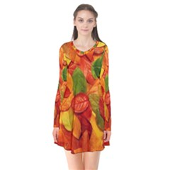Colorful Fall Leaves Flare Dress