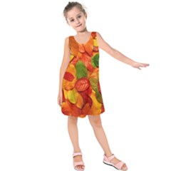 Colorful Fall Leaves Kids  Sleeveless Dress