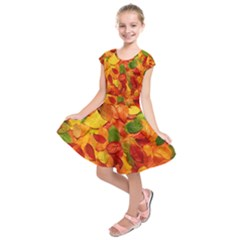 Colorful Fall Leaves Kids  Short Sleeve Dress