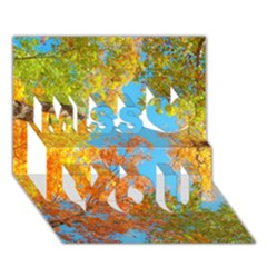 Colorful Leaves Sky Miss You 3d Greeting Card (7x5)