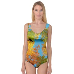 Colorful Leaves Sky Princess Tank Leotard