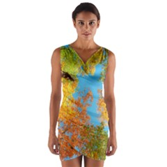 Colorful Leaves Sky Wrap Front Bodycon Dress