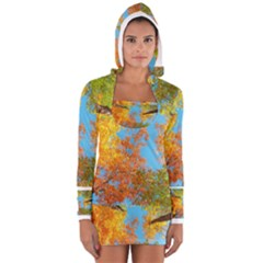 Colorful Leaves Sky Women s Long Sleeve Hooded T-shirt