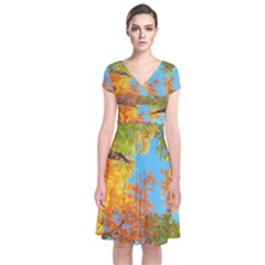 Colorful Leaves Sky Short Sleeve Front Wrap Dress