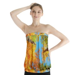 Colorful Leaves Sky Strapless Top