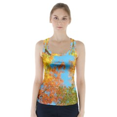Colorful Leaves Sky Racer Back Sports Top