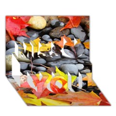 Colorful Leaves Stones Miss You 3d Greeting Card (7x5)