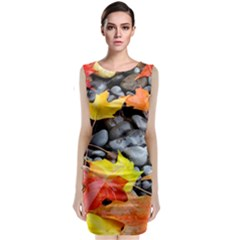 Colorful Leaves Stones Classic Sleeveless Midi Dress