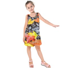 Colorful Leaves Stones Kids  Sleeveless Dress