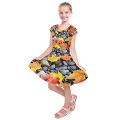 Colorful Leaves Stones Kids  Short Sleeve Dress