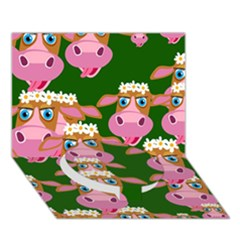 Cow Pattern Circle Bottom 3D Greeting Card (7x5)
