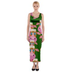 Cow Pattern Fitted Maxi Dress