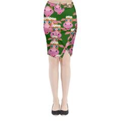 Cow Pattern Midi Wrap Pencil Skirt