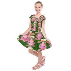 Cow Pattern Kids  Short Sleeve Dress
