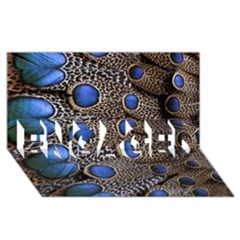 Feathers Peacock Light ENGAGED 3D Greeting Card (8x4)