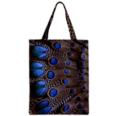 Feathers Peacock Light Zipper Classic Tote Bag
