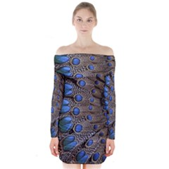Feathers Peacock Light Long Sleeve Off Shoulder Dress
