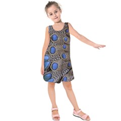 Feathers Peacock Light Kids  Sleeveless Dress
