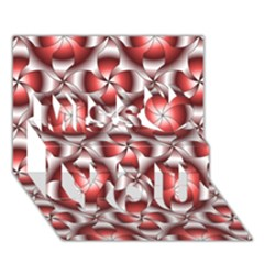 Floral Optical Illusion Miss You 3D Greeting Card (7x5)