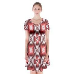 Floral Optical Illusion Short Sleeve V Neck Flare Dress