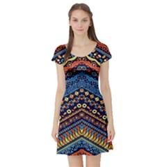 Cute Hand Drawn Ethnic Pattern Short Sleeve Skater Dress