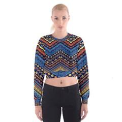 Cute Hand Drawn Ethnic Pattern Women s Cropped Sweatshirt