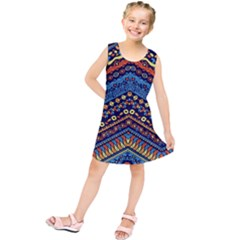 Cute Hand Drawn Ethnic Pattern Kids  Tunic Dress